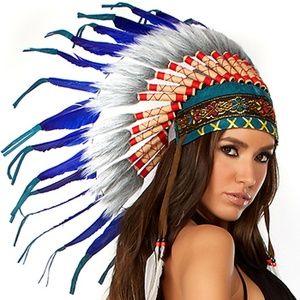 Feather headdress headband